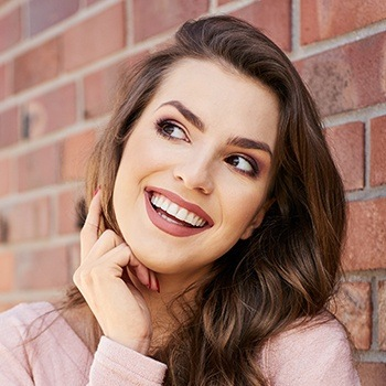 woman modeling smile